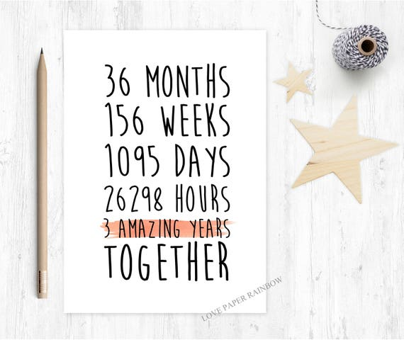 3rd anniversary card, 3rd wedding anniversary card, 3 years together, 3 amazing years, gay anniversary card, lesbian anniversary card