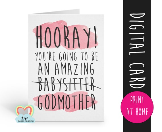 funny godmother card printable will you be my godmother instant download amazing godmother digital card godmother proposal print at home