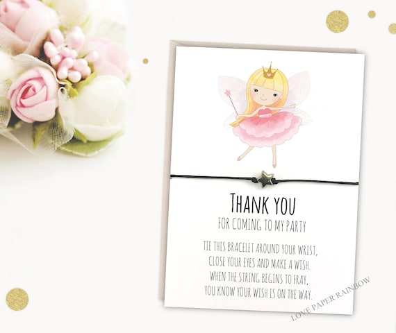 fairy wish bracelet, thank you for coming to my party, fairy birthday party, fairy party bag filler, fairy gift, fairy favour