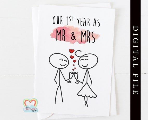 1st anniversary instant download, 1st anniversary card printable, our first year as mr and mrs, mr and mrs 1st anniversary
