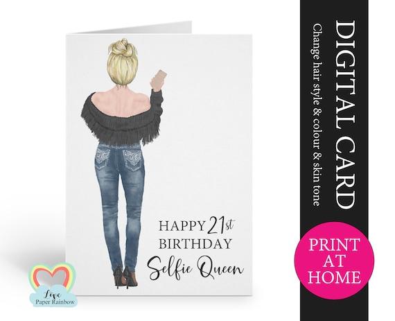 selfie queen printable card, selfie birthday card diy, best friend birthday card pdf, digital birthday card for her, custom friend birthday