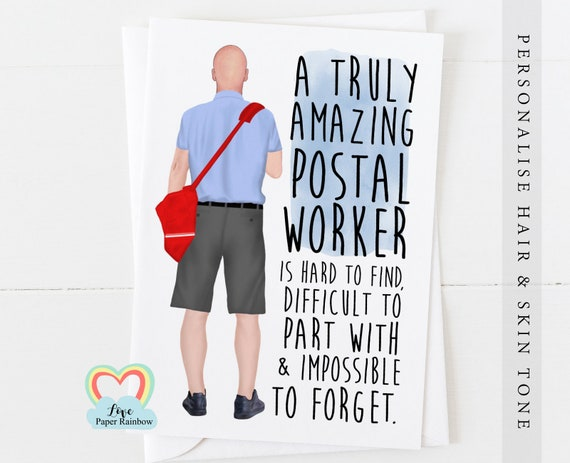 postman card thanks postal worker card postman retirement card a truly amazing postal worker quote card postman gift