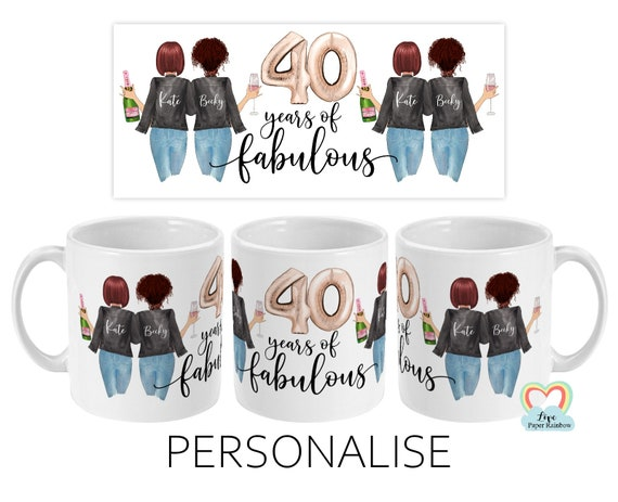 best friend 40th birthday mug, besties mug, 40 years of fabulous, mugs for best friend, sister 40th birthday, custom 40th birthday gift