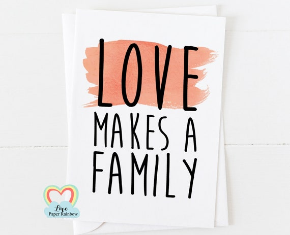 love makes a family, family card, mother's day card, adoption card, new family card, grandma card, family tree card, card for grandma