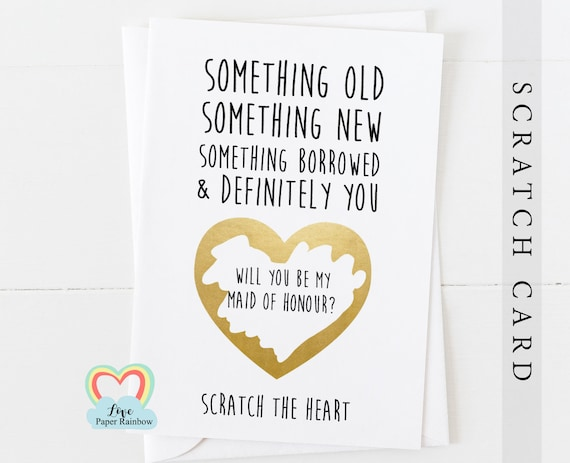 will you be my bridesmaid scratch card, will you be my maid of honour scratch card, something old something new, bridesmaid poem card