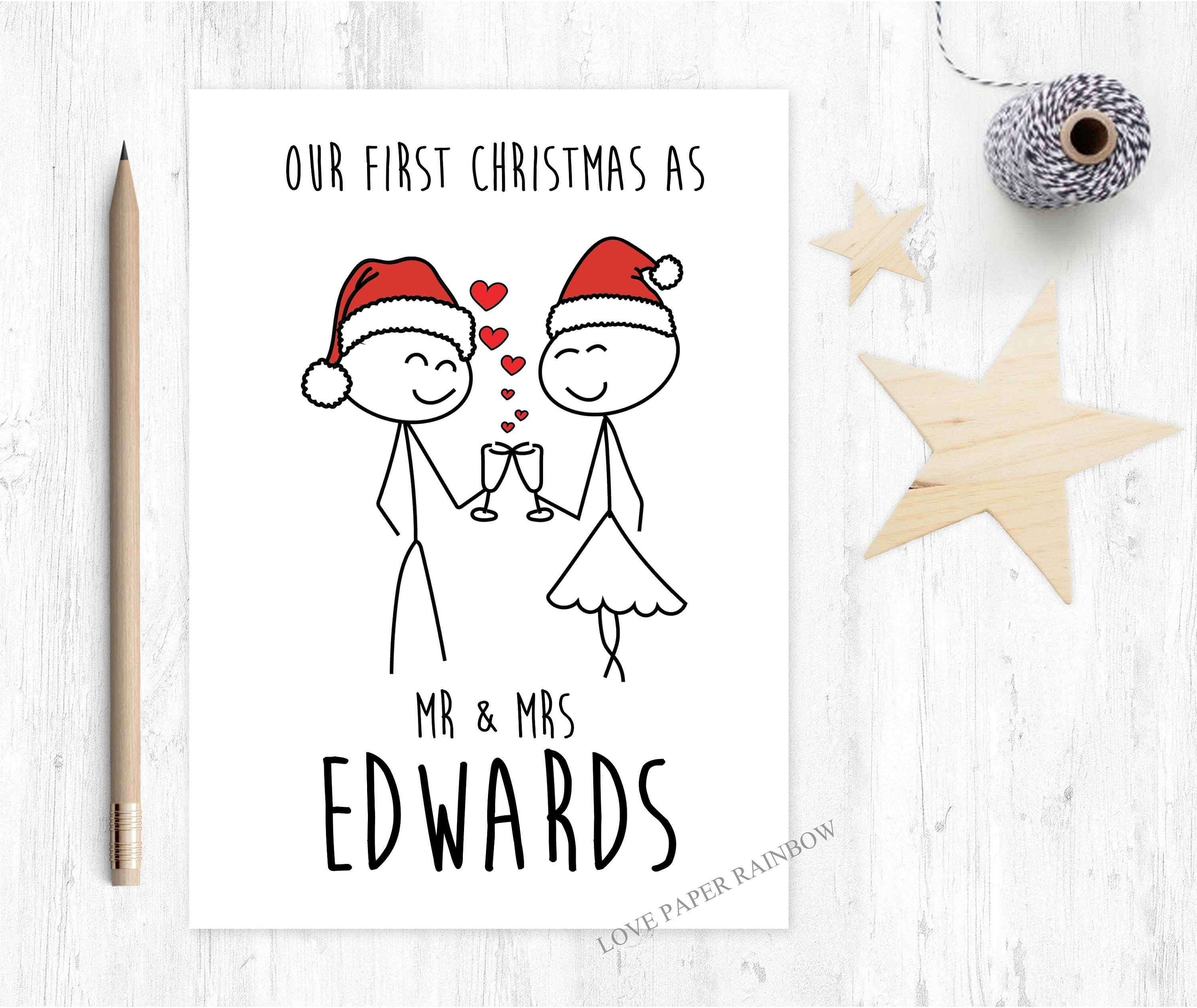 Our First Christmas Mr And Mrs 1st Christmas Card First Christmas