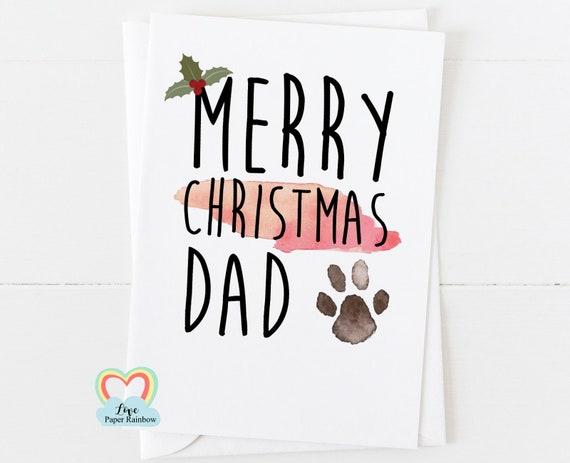 merry christmas from the dog, christmas card from the dog, dog dad christmas card, merry christmas dad, paw print christmas card,