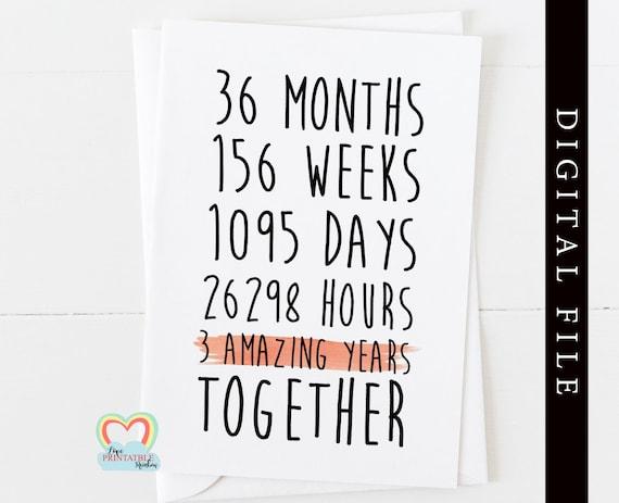 PRINTABLE 3rd anniversary card, 3rd wedding anniversary card, 3 years together, anniversary card, anniversary printable