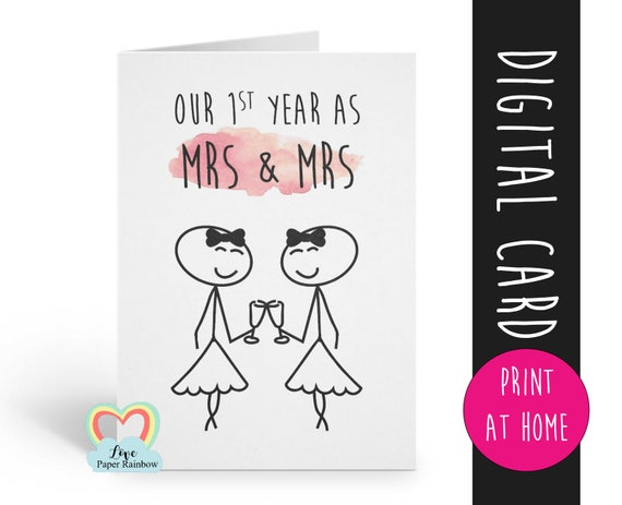 PRINTABLE anniversary card, our first year as mrs and mrs, 1st wedding anniversary card, first wedding anniversary, lesbian anniversary card