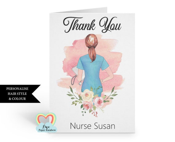 nurse card, nurse thank you card, personalised nurse card, custom nurse card, thank you nurse, nurse gift, personalised nurse gift
