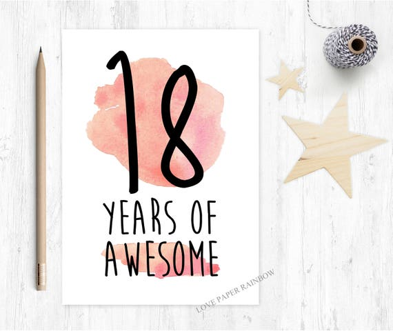 18th birthday card, funny 18th birthday card, awesome birthday card, 18 years of awesome,