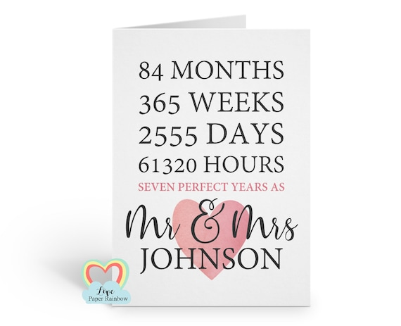 7th wedding anniversary card | 7th anniversary | personalised anniversary card | 7 perfect years | 7 years together | mr and mrs | hours