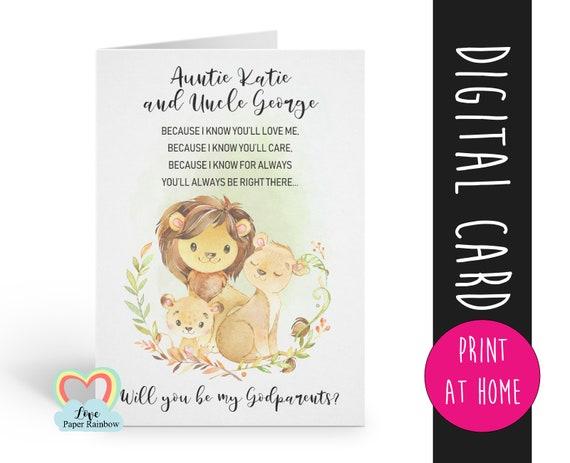 godparents card printable | lion godparents card | godparents proposal | digital download | custom godparents card | godparents poem