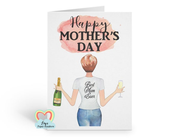 personalised mother's day card watercolour portrait custom hairstyles best mum ever card love paper rainbow