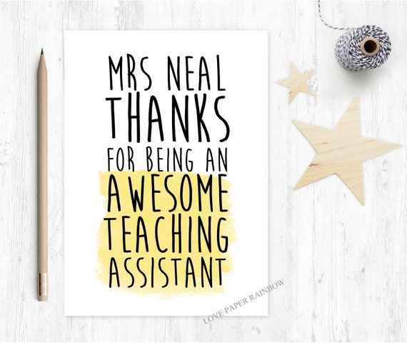 teaching assistant card thanks for being my teaching assistant funny teaching assistant card personalised teaching assistant quote awesome