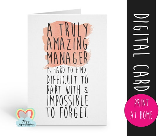 manager card printable manager retirement card instant download manager thanks card a truly amazing manager is hard to find appreciation