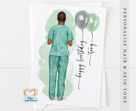 surgeon birthday card, personalised birthday card for surgeon, male surgeon