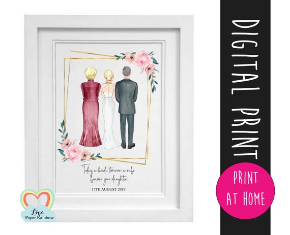 parents of the bride gift printable mother of the bride print thank you father's day download today a bride tomorrow a wife portrait creator