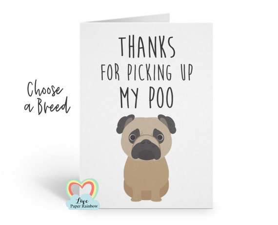 funny dog card, dog mother's day card, card from the dog, thanks for picking up my poo, dog birthday card, dog father's day card