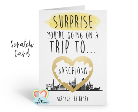 you're going to Barcelona | barcelona surprise trip | barcelona surprise scratch card | Barcelona card | Barcelona holiday | Barcelona gift