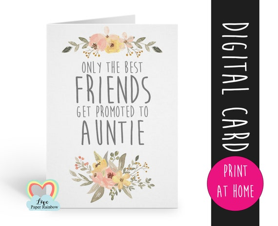 PRINTABLE pregnancy reveal, I'm pregnant, you are going to be an auntie, the best friends get promoted to auntie, baby reveal, auntie reveal