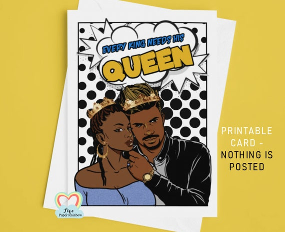african american anniversary card afro couple printable card every king needs his queen black carribean man and woman BLM king and queen