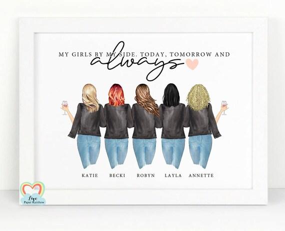 5 best friends print, personalised friends print, friendship print, my girls by my side, friendship quote, best friends birthday gift