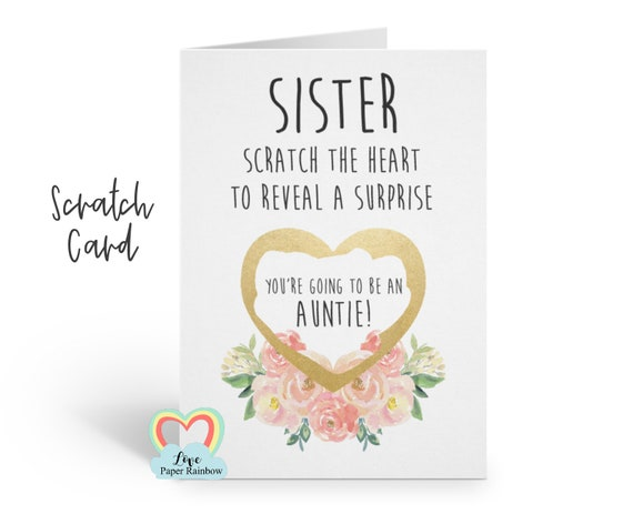 auntie reveal card pregnancy reveal, pregnancy announcement, pregnancy scratch card, i'm pregnant scratch card, you're going to be an auntie