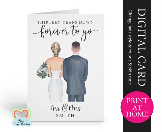 custom 13th anniversary card printable 13 years down forever to go personalized 13th anniversary digital file husband printable pdf
