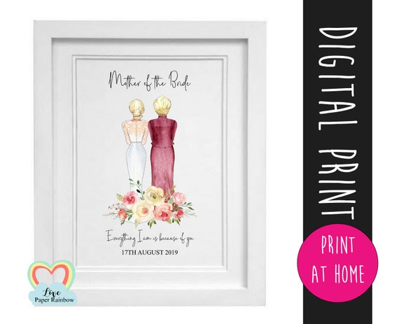 mother of the bride print, mother of the bride gift printable, custom mother of the bride, wedding day portrait, mother's day printable