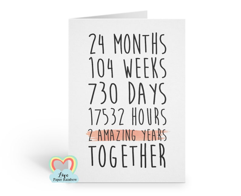 2nd Anniversary Card 2nd Wedding Anniversary Card 2 Years Etsy