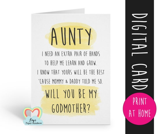 PRINTABLE will you be my godmother card aunty godmother card aunty printable godmother poem because I know you'll love me