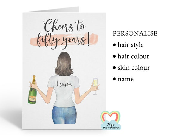 friend 50th birthday card, personalised 50th birthday card, cheers to 50 years, best friend 50th, love paper rainbow