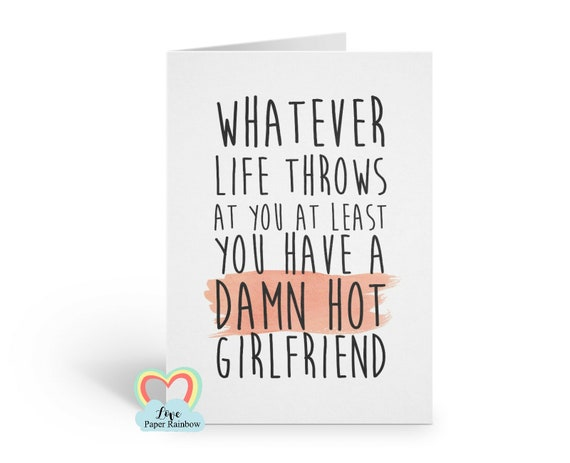 funny anniversary card funny love card funny boyfriend card valentines card for him lesbian card whatever life throws at you