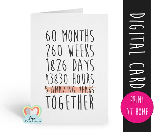 PRINTABLE 5th anniversary card, 5th wedding anniversary card, 5 years together, 5 amazing years, gay anniversary card, valentines card