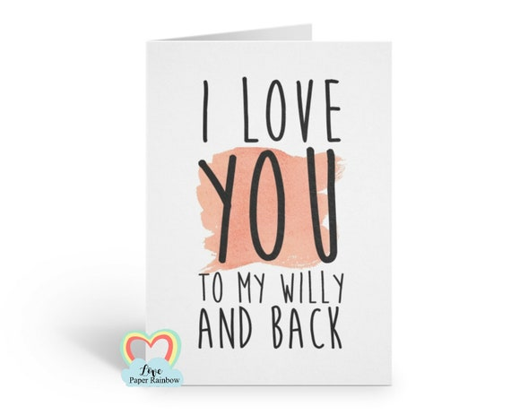 rude anniversary card naughty anniversary card love card girlfriend card i love you to my willy and back gay card LGBT valentines day card