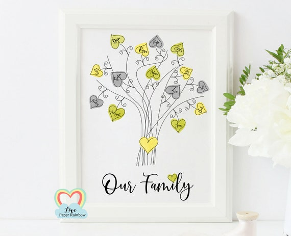 personalised watercolour family tree print mother's day gift birthday gift for grandma our family tree family wall art new baby gift