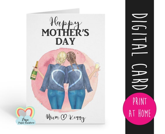personalised mother's day card printable portrait custom hairstyles mum and daughter card digital download pdf love paper rainbow