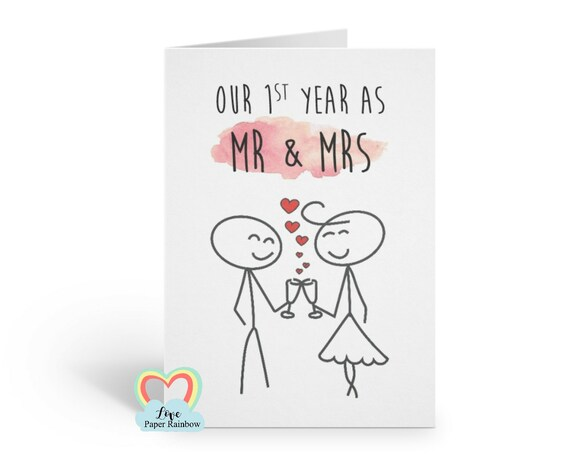 1st wedding anniversary, 1st wedding anniversary card, mr and mrs card, first anniversary, champagne, custom anniversary card