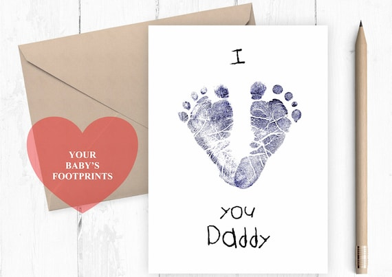 I love you daddy, baby footprints card for daddy, cute father's day card, 1st father's day card, to daddy from baby, daddy birthday card
