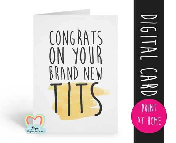 new boobs card, Boobs, Boob Job, Breast Surgery, funny boob job card, printable congrats on your new boobs