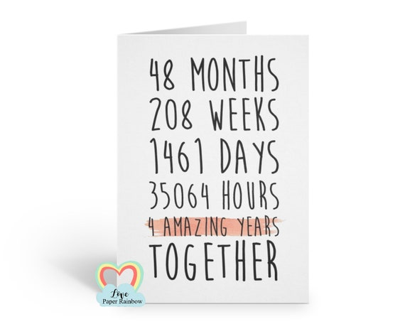 4th wedding anniversary card, 4th anniversary card, 4 years together, 4 amazing years, lesbian anniversary card, gay anniversary card