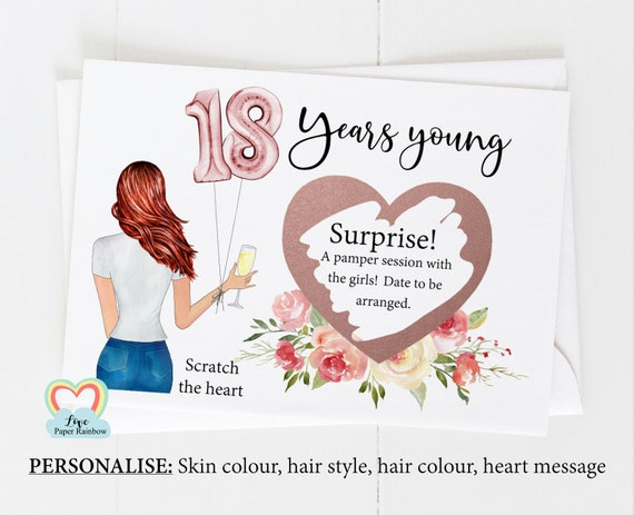 18th surprise card, personalised 18th birthday card, girl 18th birthday card, 18th birthday scratch card, scratch and reveal card,