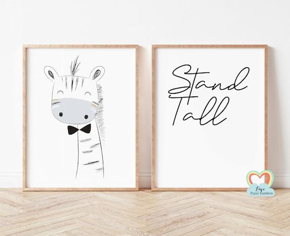 stand tall nursery print, giraffe nursery print, black and white nursery prints, nursery quote, baby boy gift, zoo theme nursery