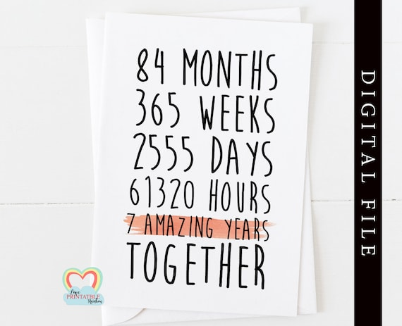 PRINTABLE 7th anniversary printable card template 7 amazing years together print at home instant download love paper rainbow digital card