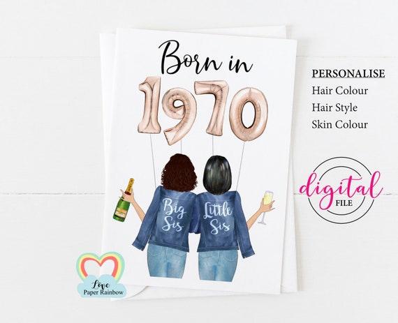 sister 40th birthday card printable personalised 40th birthday card born in 1970 custom portrait corjl custom birthday card big sis
