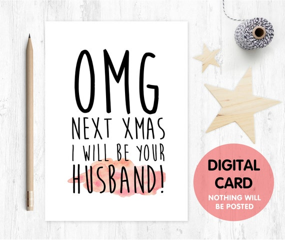 PRINTABLE fiancee christmas card, next christmas I'll be your husband, funny fiance christmas card, christmas printable