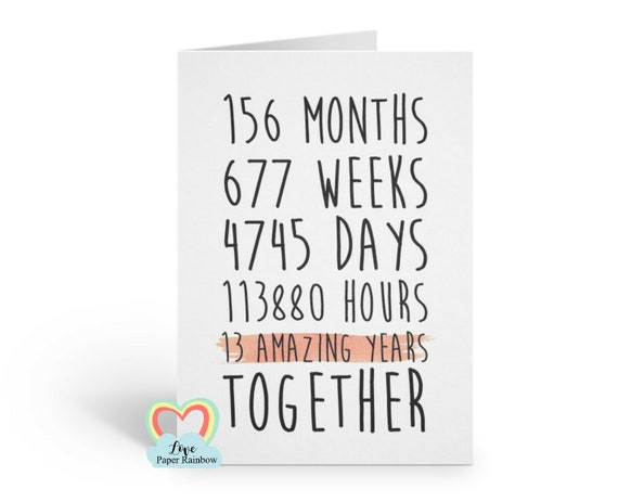 13th anniversary card, 13th wedding anniversary card, 13 years together, 13 amazing years, valentines card, gay anniversary card