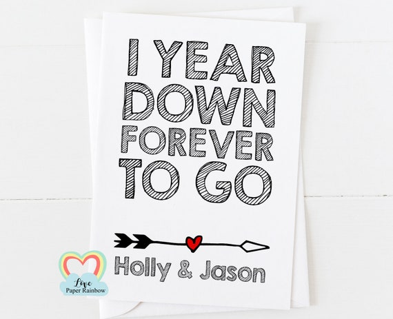 1st anniversary card, 1st wedding anniversary card, 1 year down forever to go, personalised anniversary card, anniversary card for him