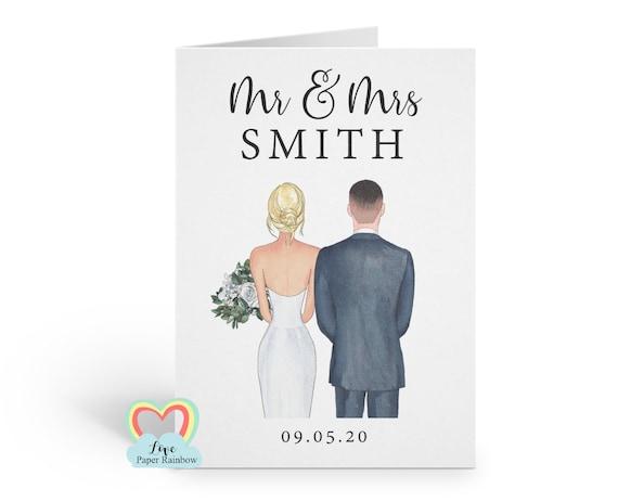 personalised wedding card, personalised anniversary card, mr and mrs card, personalised mr and mrs card, wedding portrait card